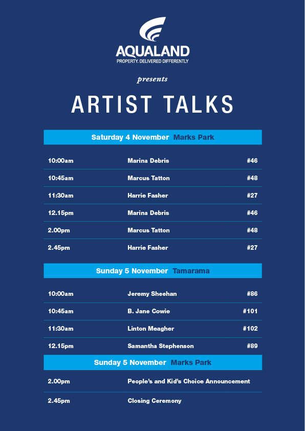 Artist talks 3RD WEEKEND schedule Bondi 17
