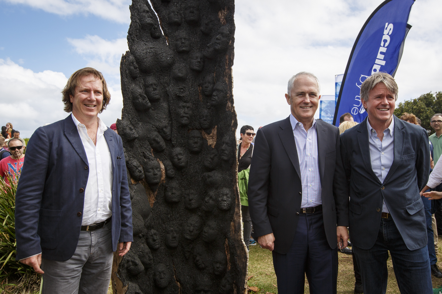 David Handley, Founding Director of Sculpture by the Sea, The Hon. Malcolm Turnbull PM, Ian McGill, Partner at Allens Linklaters
