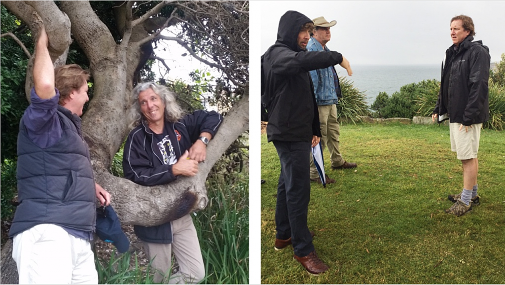 David Handley and Philip Wadds liaise with artists Charlie Trivers and Dale Miles on site in preparation for Sculpture by the Sea, Bondi 2017.