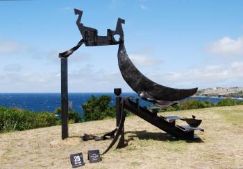 Orest Keywan, Paper Moon (aka bills boat), Sculpture by the Sea, Bondi 2008. Photo NPaterson