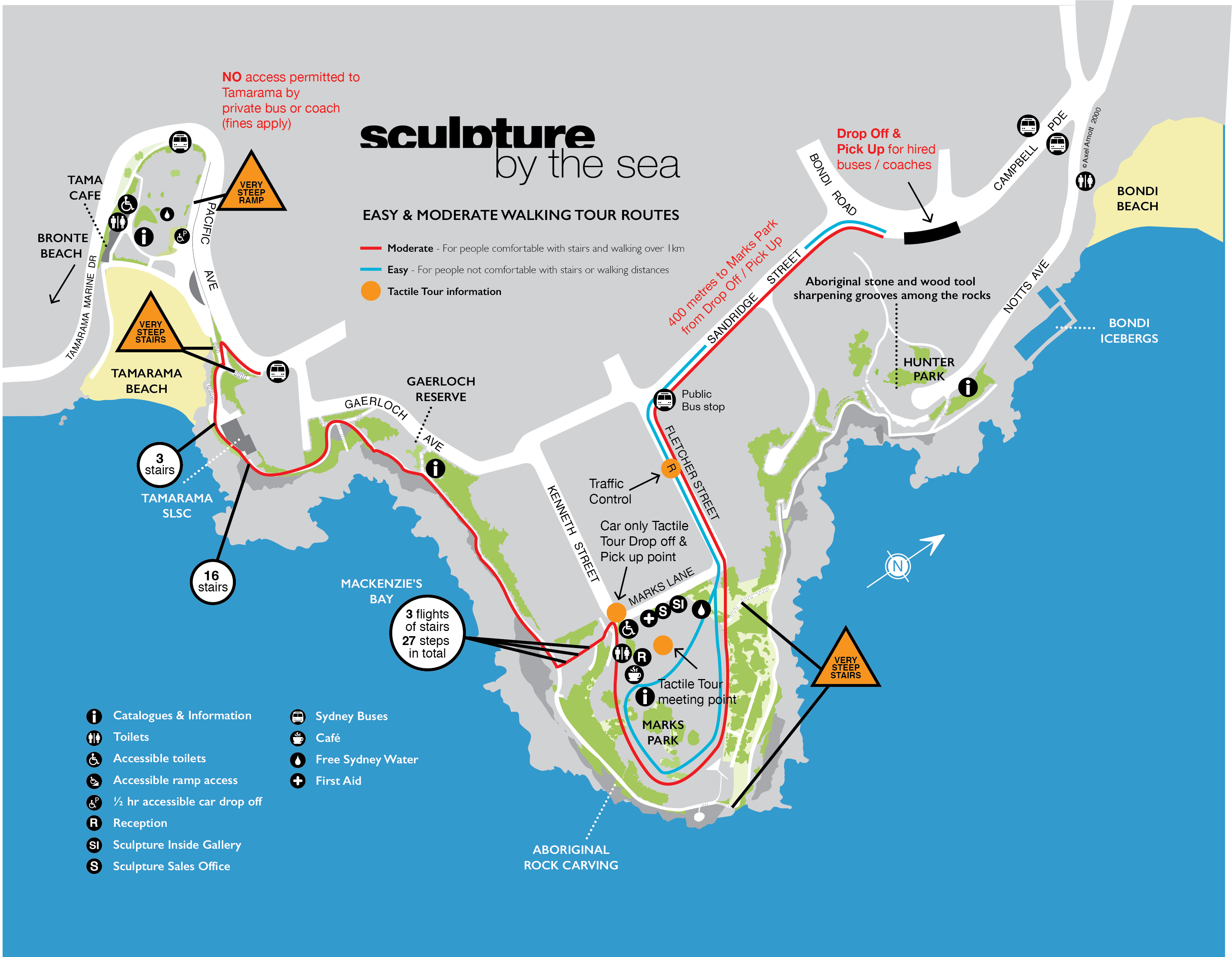 Walking Tour Map of The Sculpture by the Sea Bondi